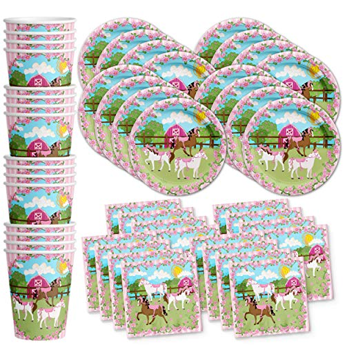 Lovely Pink Horse Birthday Party Supplies Set Plates Napkins Cups Tableware Kit for 16 -
