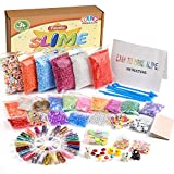 FEPITO 76 Packs Slime Accessories Kit Including Slime Foam Beads, Fishbowl Beads, Wobbly Eyes, Shell, Slices, Imitation Gold Leaf, Slime Tools, Confetti, Animal Models (Contain No Slime)