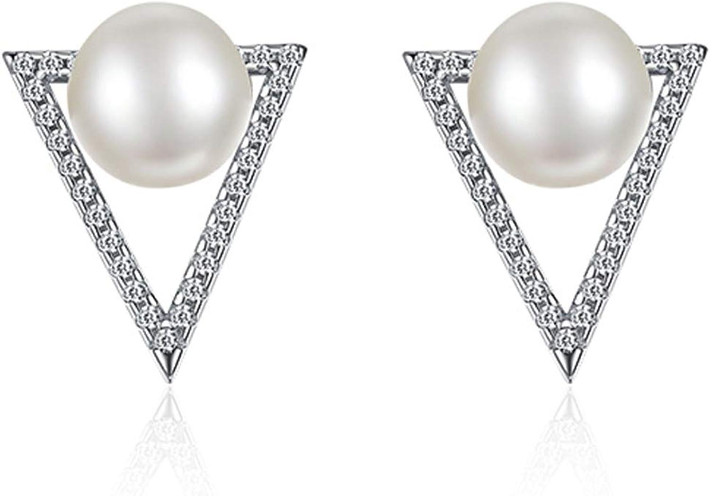 Pendientes Mujer Fiesta Cristal Pendientes Largos Bisuteria Pendientes de Triángulo con Perla Cz,Plata de Ley,Plata