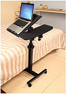 Kimanli Turnlift Sit-Stand Mobile Laptop Desk Cart with Side Table Black Notebook Computer Desk/Table Modern Office Study Workstation Efficient Computer Desk