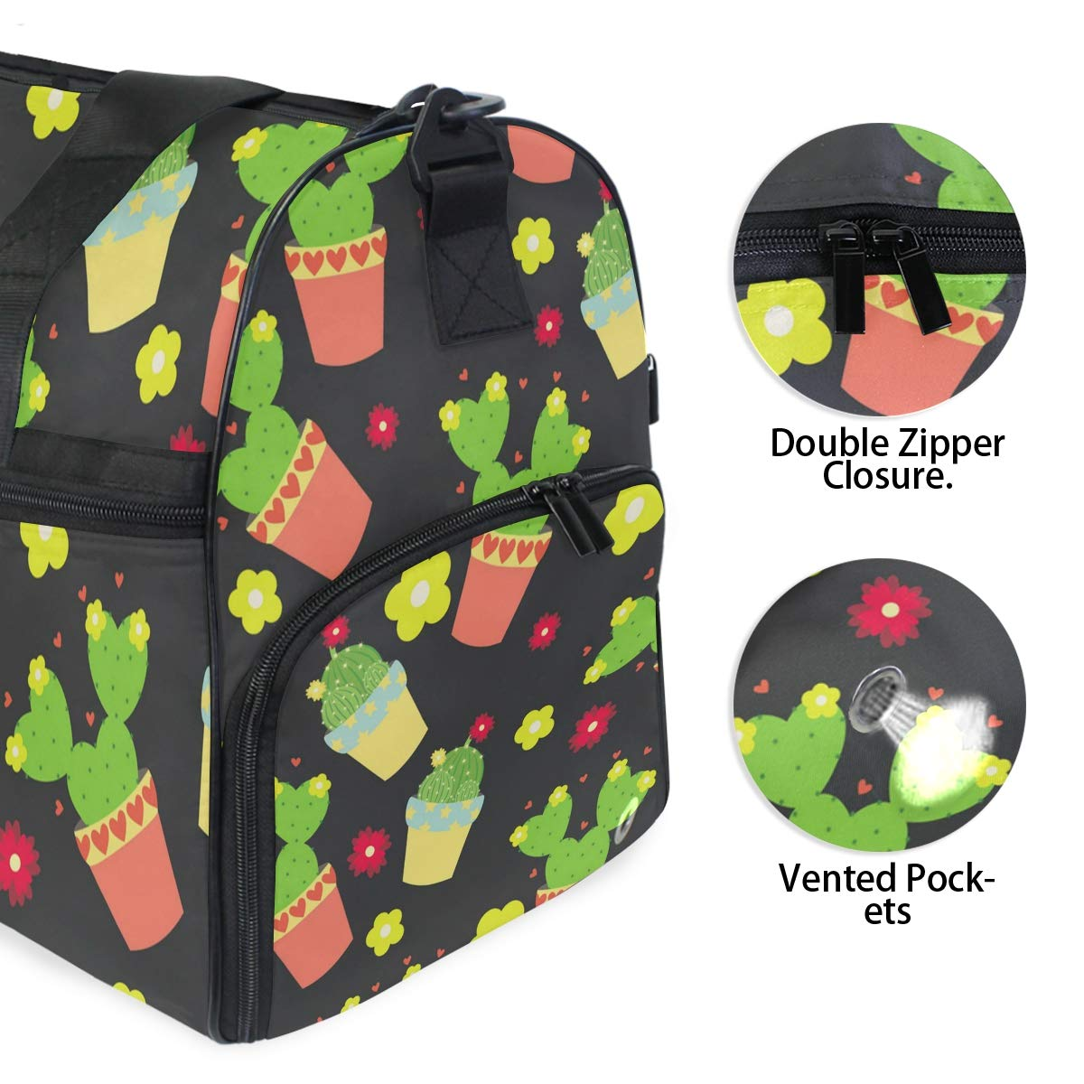 Black Flower Colorful Cactus Large Travel Duffel Bag For Women Men Overnight Weekend Lightweight Luggage Bag