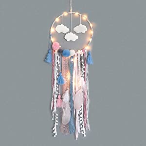 Dremisland Dream Catcher Handmade Traditional White Cloud Dream Catcher with Led String Lights Wall Hanging Kids Room Decor Nursery Wall Art Ornament Decor Craft Gift (Cloud)