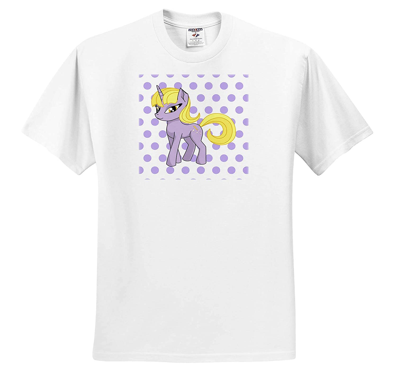 Childrens Art V T-Shirts Image of Violet and Yellow Unicorn On Violet Dots 3dRose Lens Art by Florene