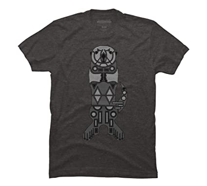 Design By Humans Sea Otter Men's Small Charcoal Heather Graphic T Shirt