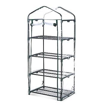 iKayaa 4 Tier Garden Mini Greenhouse Growbag House W/ Shelves Metal ...