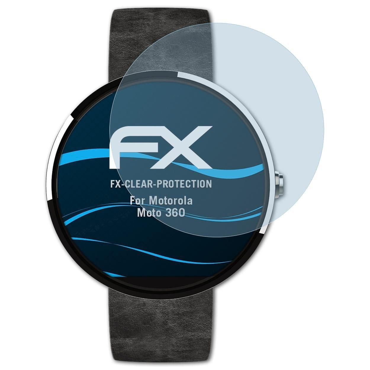 atFoliX Lámina Protectora de Pantalla Compatible con Motorola Moto 360 Película Protectora, Ultra Transparente FX Lámina Protectora (3X)