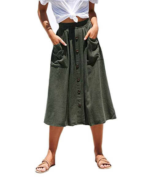 52a2b687a Azue Womens A Line Midi Skirt Elastic Waist Front Button Casual Pleated  Skirt with Pockets Army