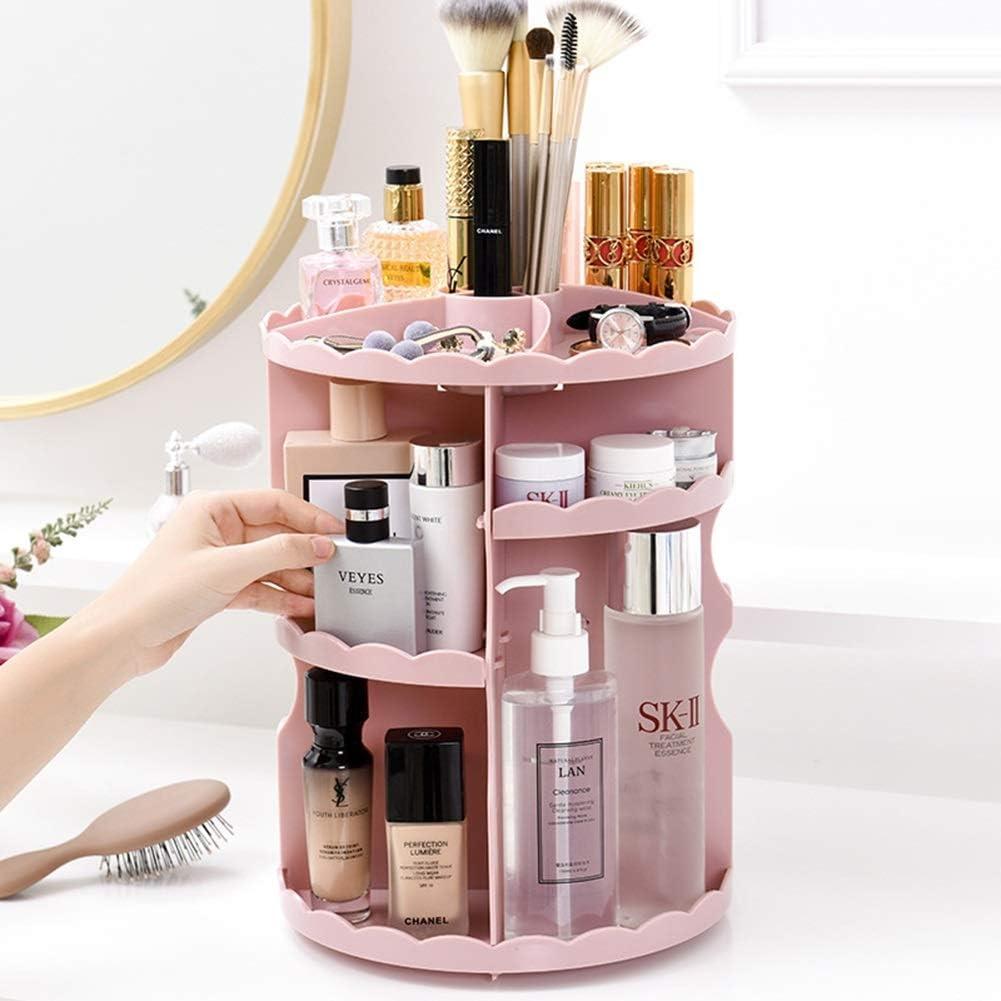 Organizador de maquillaje Beauty Case, organizador de maquillaje giratorio de 360 grados, gran capacidad, organizador de cosméticos (color: rosa): Amazon.es: Deportes y aire libre
