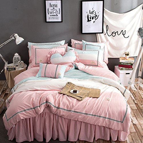 TideTex 4PC Simple Student Teens Girl Cotton Bedding Set Pink Blue College Dorm Soft Cozy Duvet Cover Sets Washable 4-piece Nordic Bedding Bed Skirt (Full, A) by TideTex (Image #1)