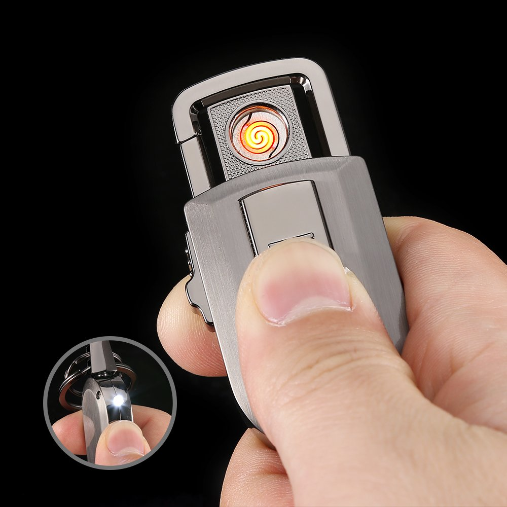 Keychain Flashlight with Windproof Flameless Electronic Cigarette Lighter and Bright LED Light, Lightweight and USB Rechargeable,Great Gift Ideals by Jobon (Image #2)