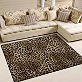 Naanle Animal Print Area Rug 5'x7', Leopard Print Polyester Area Rug Mat for Living Dining Dorm Room Bedroom Home Decorative