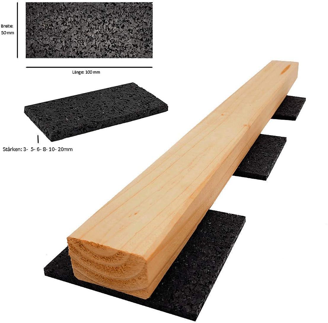 Terrassenpads I gummipad I Unterleger aus Gummigranulat f/ür Terrassenholz Terrassendielen 100 x 50 x 10 mm Menge: 200 St/ück