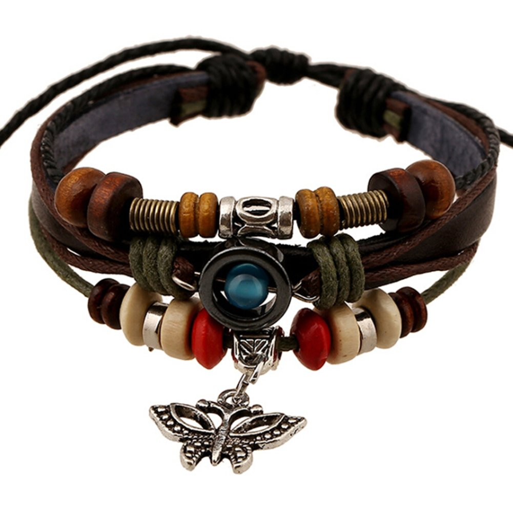 TEMEGO Jewelry Mens Womens Alloy Genuine Leather Surfer Wrap Bracelet, Vintage Beads Butterfly Charm Cuff Bracelet, Adjustable Fits 7-12 Inch, Brown Golden Silver