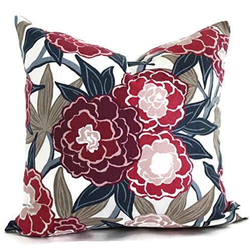 Magenta Peony Pillow Cover made with Robert Allen fabric