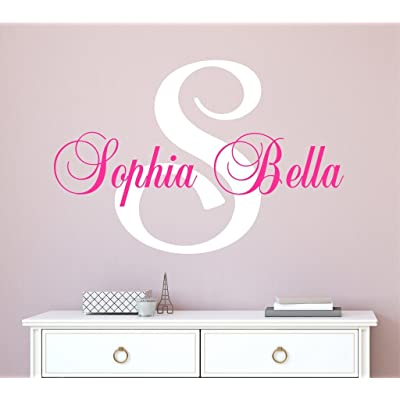 "Nursery Custom Name Wall Decal Sticker, 16"" W by 12"" H, Girl Name Wall Decal, Girls Name, Wall Decor, Personalized, Girls Name Decor, Girls Nursery, Girls Bedroom, Plus Free White Hello Door Decal: Baby"