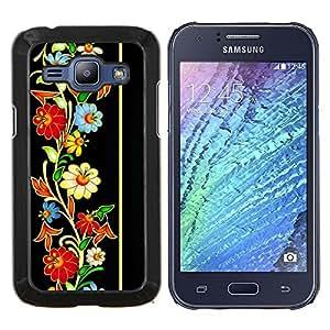TECHCASE---Cubierta de la caja de protección para la piel dura ** Samsung Galaxy J1 J100 ** --Modelo retro del Patrimonio floral de la vendimia