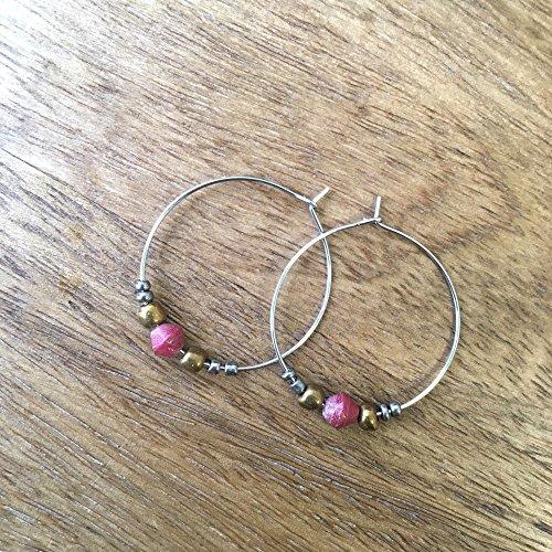 (Paper Bead Hoop Dignity Earrings - Red - Fair Trade BeadforLife Jewelry from Africa )
