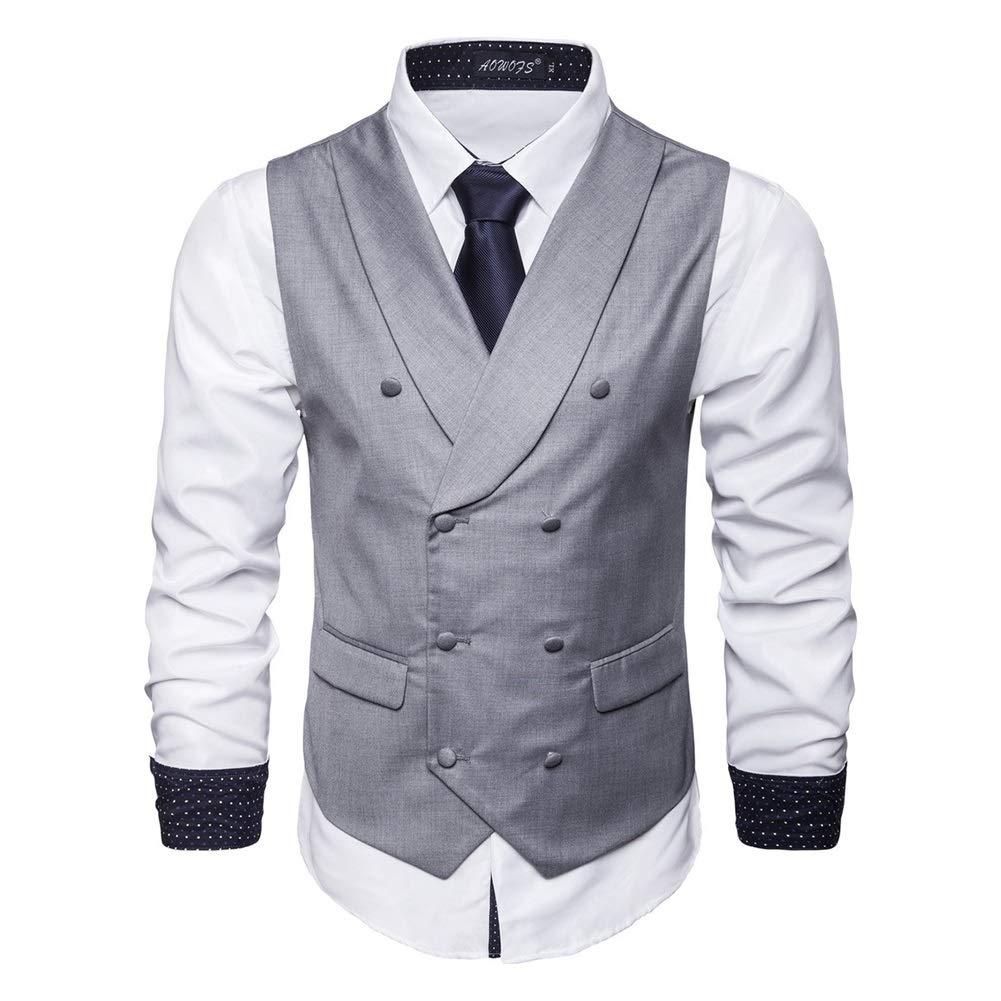 Herrenanzug Weste Gilet Herren Geschäft Casual Mode dünne Weste Zweireiher Bequeme ärmellose Weste (Farbe   3, Größe   XXXL)