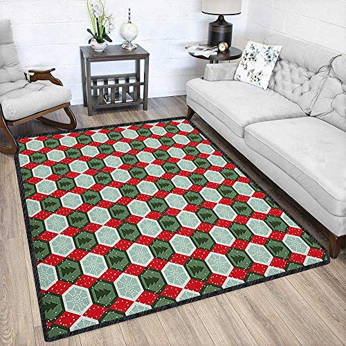 Geometric Super Soft & Cozy Rugs,Hexagon Shapes with Snowflake and Pine Tree Design Winter Themed Provides Protection and Cushion for Floors Reseda and Hunter Green Red 67