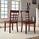 iNSPIRE Q Wilmington II Window Back Wood Dining Side Chairs by Classic (Set of 2) Red Antique