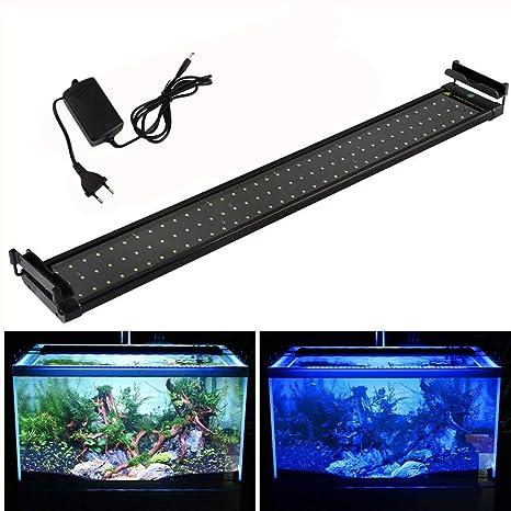Poncherish Acuario LED Iluminación, Acuario iluminación Bombilla Blanco Luz Azul 25 W con Ajustable Soporte