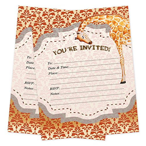 - Safari Invitations for Birthday or Baby Shower 20 Count With Envelopes