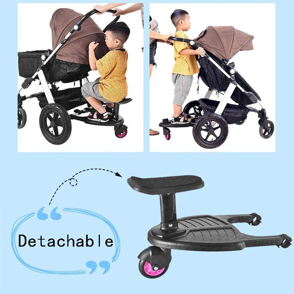 DGDG Buggy Board,Auxiliary Universal Pedal Baby Stroller Accessories Compatibility Up to 99% Pink Wheels, Black by DGDG (Image #3)