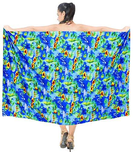 costume beachwear sarong involucro LEELA LA esterno del coprire da bagno l434 bagno da pannello bagno da pareo Blu donne costume costumi B1qzqwI