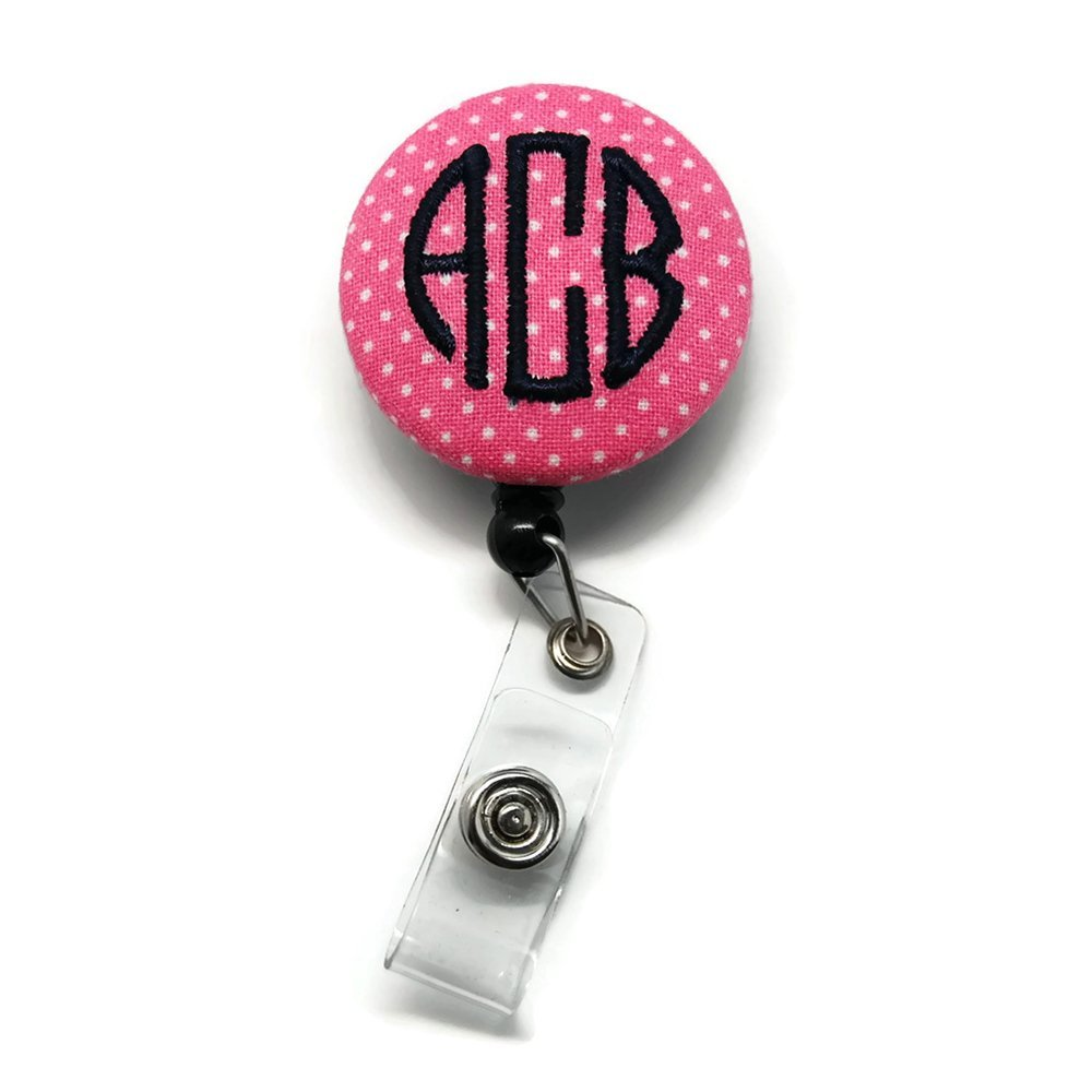 Monogrammed Pink Swiss Dot with Black Badge Reel Retractable for ID or Key Card Free Shipping
