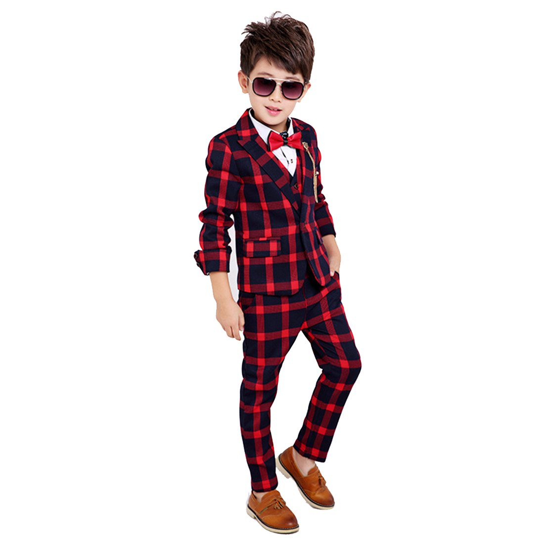 Gele Boy 4 Pieces Plaid Formal Suit Set,Vest+Pants+Blazer+Bow Tie (6, Red)