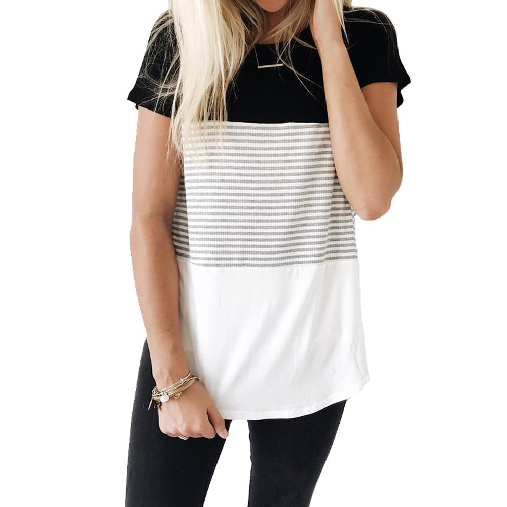 1a8b74aec YunJey Round Neck Triple Color Block Stripe T-Shirt at Amazon Women's  Clothing store