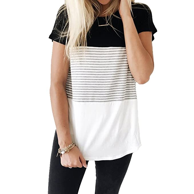 747dfaae YunJey short sleeve round neck triple color block stripe T-shirt casual  blouse,Black