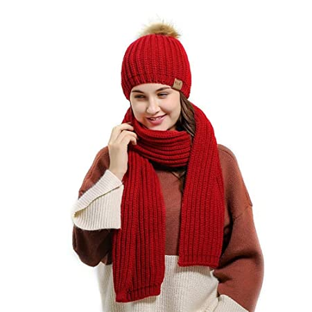 2572d7525d1 Cathy02Marshall Knitted Hat Scarf Set Soft and Comfortable Simple Shape  Suitable for Women and Girls red  Amazon.co.uk  Kitchen   Home