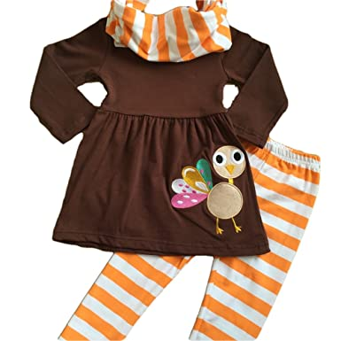 40ee20a7a6f81 Cute Kids Clothing Toddler Girl Girl s Thanksgiving Striped Turkey Scarf  Legging Outfit Boutique Set Size