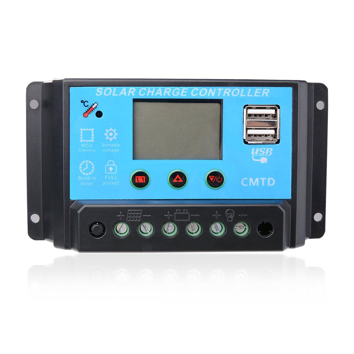 10A Solar Charge Controller Regulator Solar Panel Battery 12/24V Voltage Protection with Digital Volts Display Intelligent Solar Generators Starter Kit for Overload Protection Home Solar Systems
