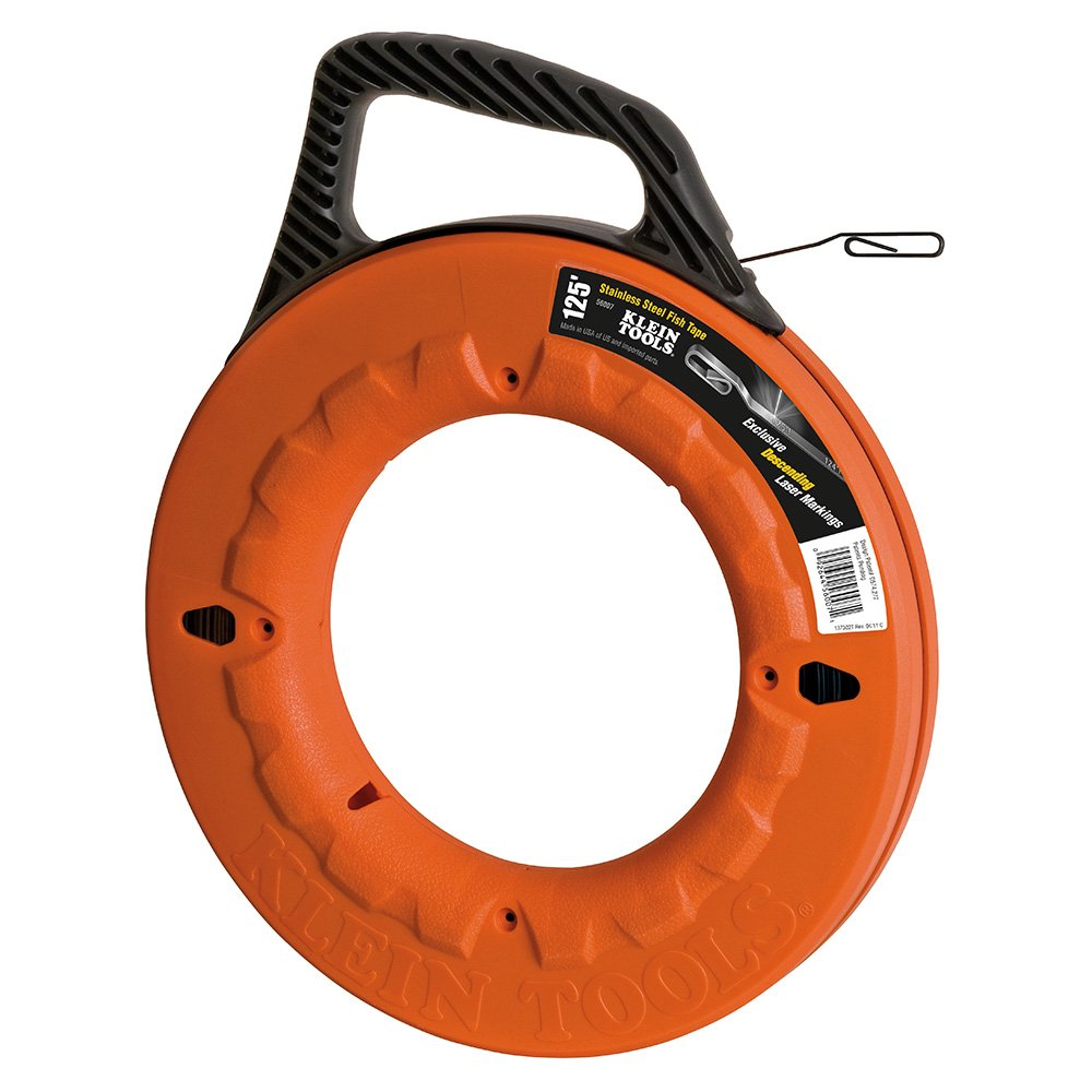 Klein Tools 56007 125-Feet Depth finder High Strength Stainless Steel Fish Tape