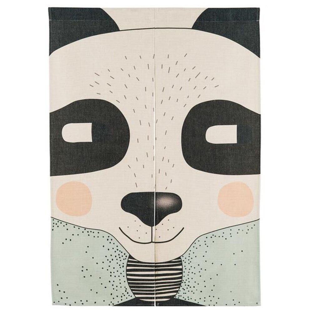 Xiaopangzi Cotton Linen Door Curtain Cute Animal Japanese Noren Curtain Bedroom Curtain 85cm x 120cm (Panda)