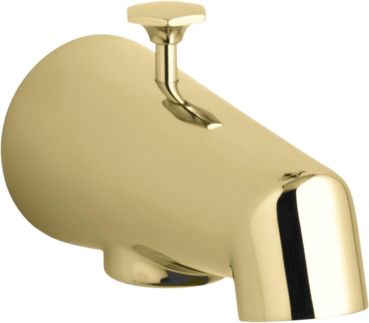 KOHLER K-6855-PB Standard Diverter Bath Spout, Vibrant Polished Brass