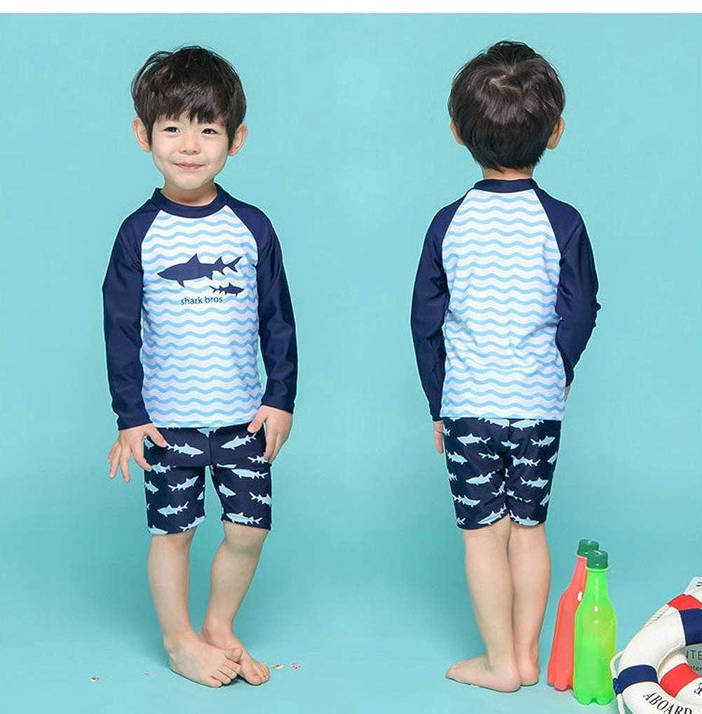 Baby Kid Boy Swimwear Swimsuit Two Pieces Long Sleeve Rash Guard Sunsuit Bathing Suit Sun Protection 1-8t