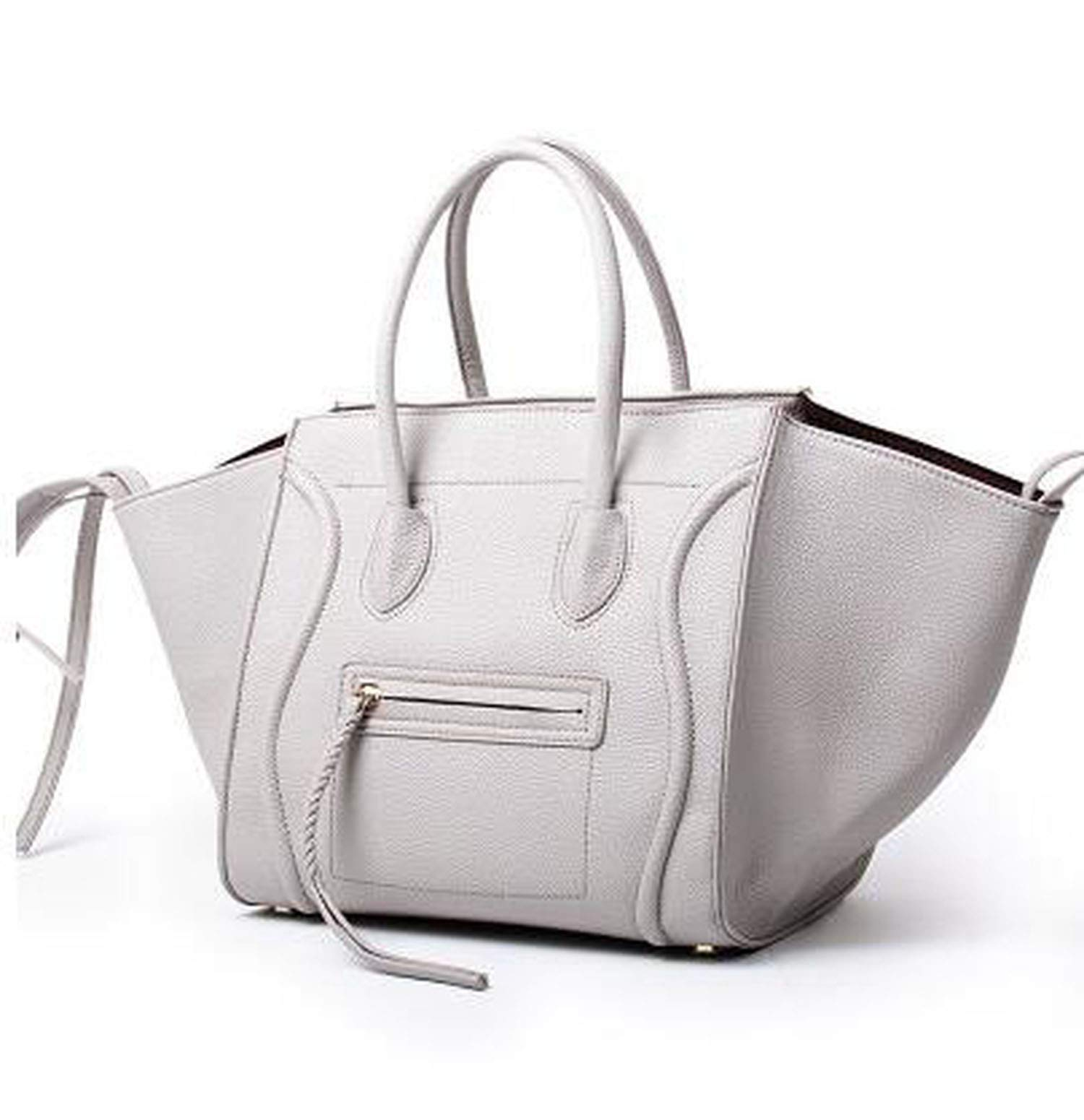Women Handbags Fashion Leather Face Smile Handbag Quality Trapeze Smiley Claws Bag,Big Gray