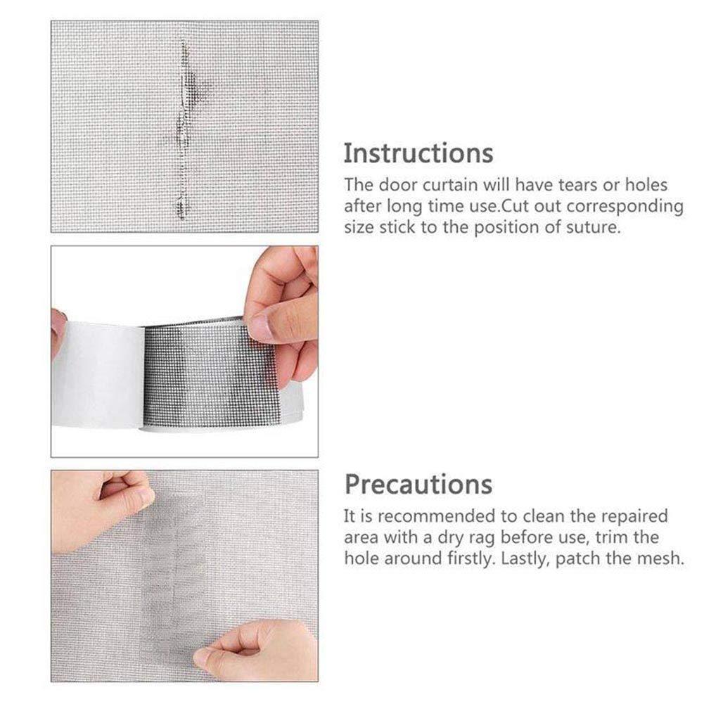 autocollant en fibre de verre Repair pour patching trous et Tear pour /éviter les insectes invasion noir Kit de r/éparation de porte de fen/être en mesh avec adh/ésif puissant et /étanche