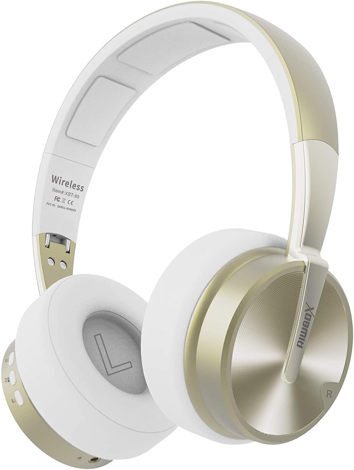 Bluetooth Headphones, Riwbox XBT-90 Foldable Wireless Bluetooth Headphones Over Ear Hi-Fi Stereo Wireless Headset with Mic/TF Card and Volume Control Compatible for PC/Cell Phones/TV/ipad (White&Gold)