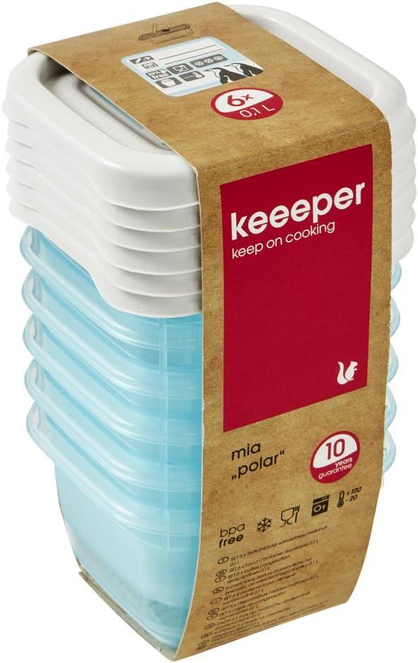 keeeper MIA Polar Botes para Alimentos, PP, Ice Blue (Transparente), 6X 90 ml, 6