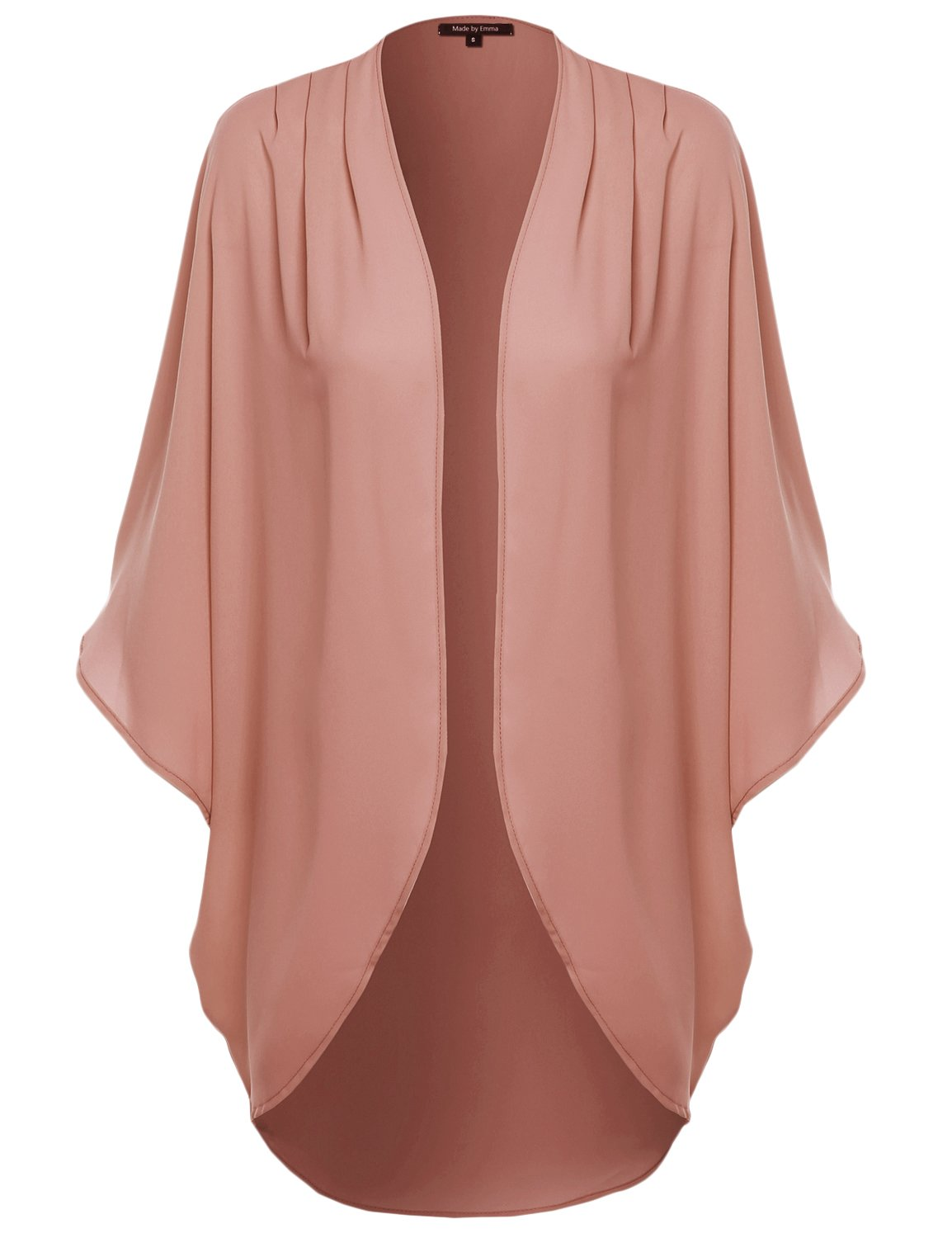 Made by Emma Solid Short Sleeve Open-Front Kimono Style Cardigan Mauve 3XL