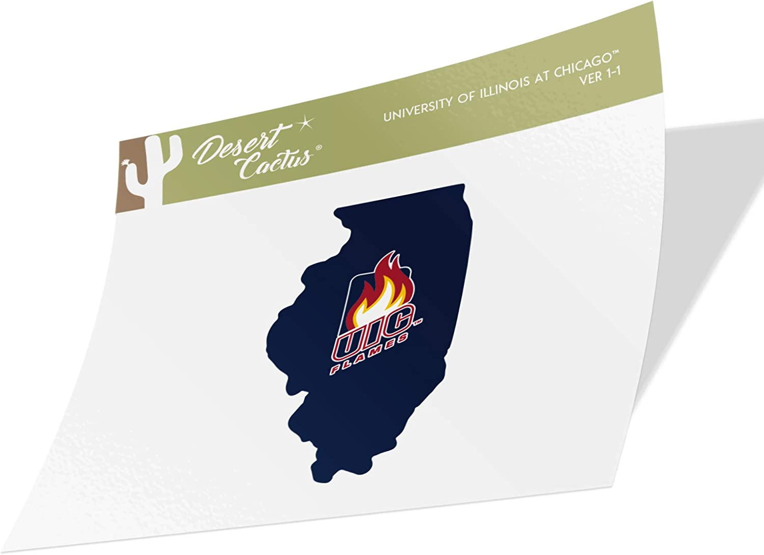 University of Illinois at Chicago UIC Flames NCAA Vinyl Decal Laptop Water Bottle Car Scrapbook (State Boarder Sticker)
