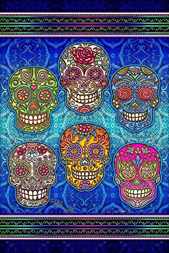 Sugar Skull Heads 3D Vertical Tapestry by Dan Morris