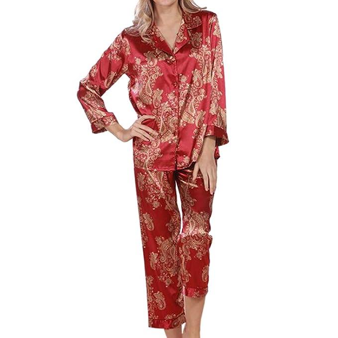 Xinvision Señoras Satín Seda Conjunto de Pijamas Mangas largas Ropa de Noche Sleepwear 2 Piezas Floral