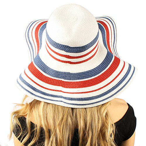 "UPF 50+ USA Flag Colors Sriped Floppy Wide Brim 5""+ Summer Beach Sun Hat White"