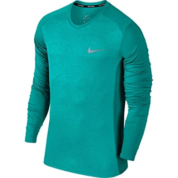 ee078d82 Nike M NK Dry Miler Top LS - Long Sleeve Technical T-Shirt, Mens, Green -  (Turbo Green/htr): Amazon.co.uk: Sports & Outdoors