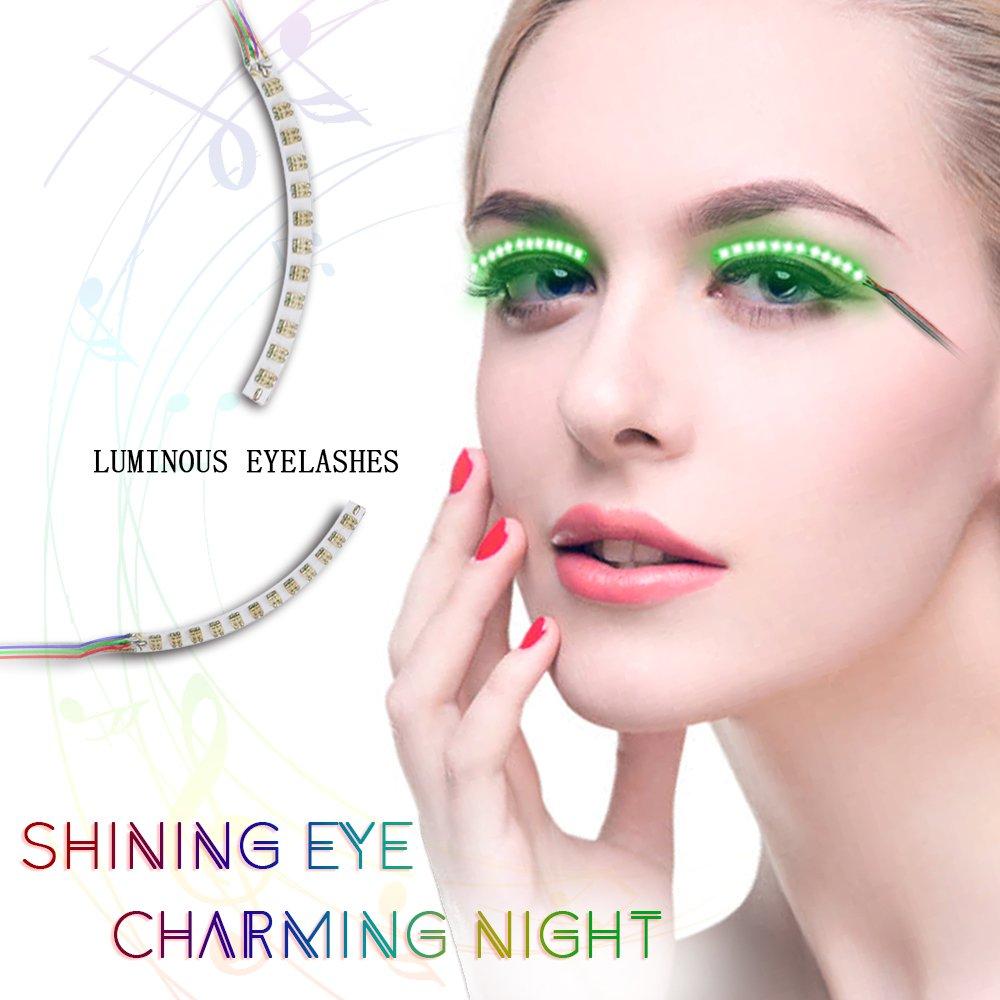 BMK Things for Party LED Eyelashes Light Waterproof Shining Eyeliner False Eyelashes for Nightclub Bar and Birthday